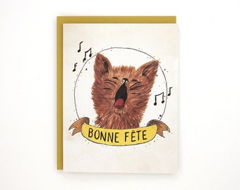 French Birthday card - Bonne Fete - greeting card - cat celebrates / BIR-CAT-FRENCH