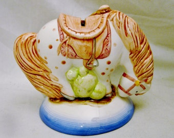 """Hobby Horse Savings Bank Ceramic Design with Hand Painted Trim in Shades of Pink & Green on a Blue and White Base 5.5""""X6"""" (13.97cmX15.24cm)"""