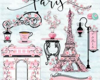 Paris in the Spring Cherry Blossoms   Pink Parisian Elements l Clipart Instant Dowload