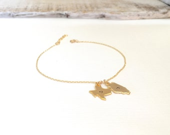 Gold State Charm Bracelet, Best Friend Bracelet, Silver State Charm Bracelet, Multiple State Bracelet, Rose Gold State Bracelet