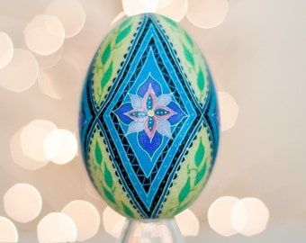 Blue Diamonds Goose Pysanky -- Hand dyed Ukrainian Easter Egg