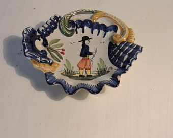 Henriot Quimper Dish - Vintage Quimper Pottery HB Plate - Tole Painting - French Hand Decorated Folk Art Oyster Bowl - Breton Faience