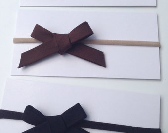 White Brown and Black Bow set Clip or Headband Hair Bow Headband Nylon Cotton Bow Headband Baby Headbands Preemie Headbands Hand Tied Bow