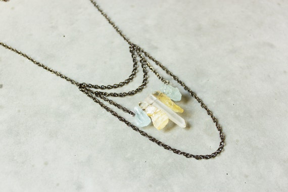 Raw Crystal Necklace. Natural Citrine Necklace. Raw Aquamarine Necklace. Summer Jewelry. Modern Crystal Necklace Jewelry under 50 Luna Pines