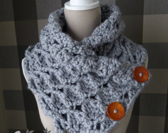 crochet pattern scarf - pattern neckwarmer - crochet scarf with buttons