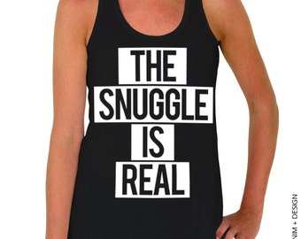 The Snuggle is Real - Black Flowy Tank Top