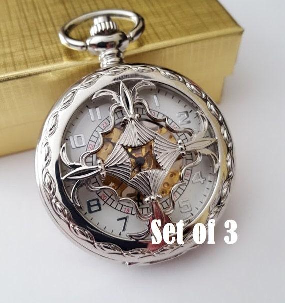 silver pocket set of 3 engraved groomsmen gift
