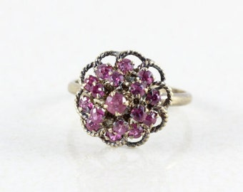 14k Yellow Gold Ruby Ring Cluster Princess Harem Ring Size 4 3/4