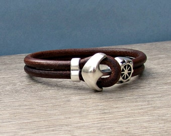 Anchor Bracelet Mens Leather bracelet Cuff Sailing Bracelet Customized On Your Wrist.A1