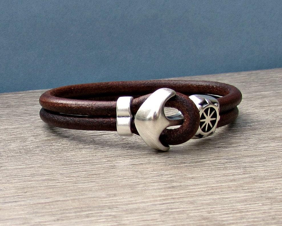 anchor bracelet mens leather bracelet cuff sailing bracelet