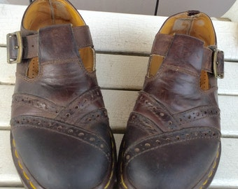 Chocolate Brown Leather T Strap Perforated Mary Jane 'Dr. Marten'  'The Original' Shoes Ladies Size UK Size 5 US Size 7
