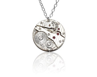 Watch Movement Pendant on Sterling Silver chain - 'Lady Charlotte' (Large)