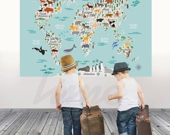 Wall Decals Stickers Trees Nursery Children By LimeWallDecor - World map for playroom