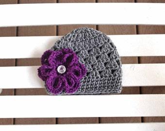 Girl Flower Hat, Girl Hats, Kids Hats, Girl Beanie, Baby Hats, Baby Beanies, Purple Hats, Flower Hats, Women Hats, Kids Beanies