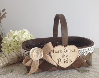 Flower girl basket with Here Comes Mommy or Here Comes the Bride, wedding sign, rustic flower girl basket