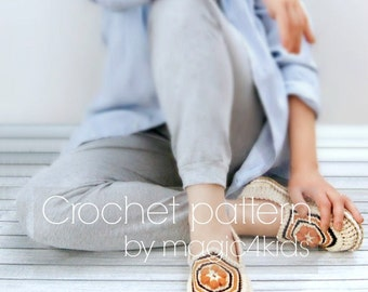 Crochet pattern- women slippers with rope soles,all women sizes,soles pattern included,loafers,shoes,adult,eco friendly,boho style,cord,girl