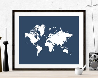 Navy world map etsy sciox Image collections