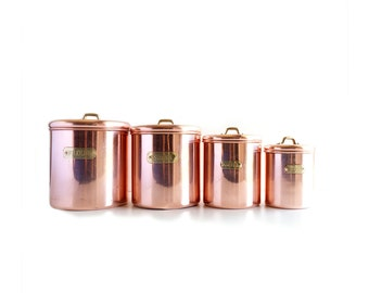 Vintage Copper and Brass Kitchen Canister Set, Flour, Sugar, Coffee and Tea Canisters