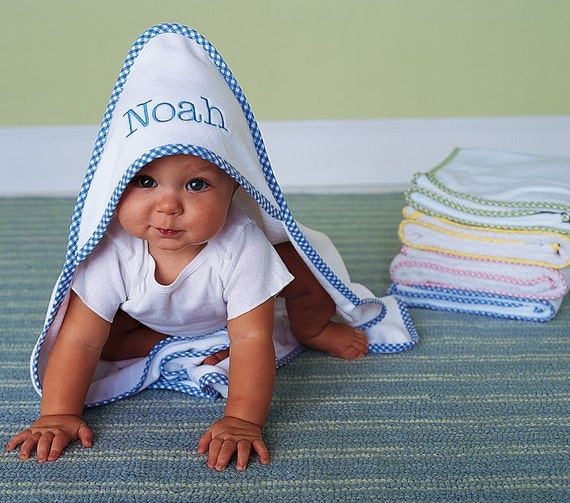 Monogrammed Towel Personalized Hooded Baby Towel Gingham