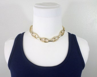 Large Link Necklace Gold Link Choker Oval Link Necklace Gold Collar Choker Vintage Gold Necklace Collar Choker Jewelry