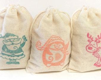 Colorful Holidays muslin cotton favor bag 15 2.75x4 with stamp gift sack Christmas goodies treat bag