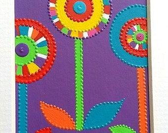 Miniature ACEO original acrylics & sequins. Lollipop flowers on Purple by Artichicks.
