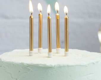 Gold Birthday Candles I 24 Pack I Gold Candles I Metallic Candles I Gold Celebration Candles