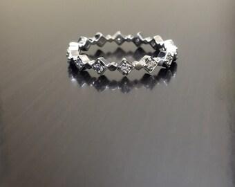 Platinum Eternity Diamond Engagement Ring - Platinum Diamond Wedding Band - Platinum Eternity Diamond Band - Art Deco Diamond Platinum Band