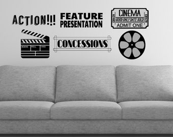 Home Theater Wall Decal Set - Theater Room Decor - Movie Decorations - Cinema Decals - Home Theater Decorations - Admit One - Film Reel