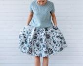 Linen skater skirt, Linen skirt for summer, Flower print skirt, Natural linen skirt, Floral linen skirt, Linen skirt with pockets