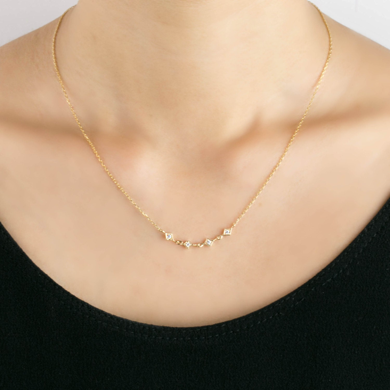 Multi diamond star chain necklace tiny diamond station