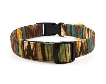 Autumn Dog Collar // Size S-XL // Adjustable Length // Fabric: Rusty Ikat