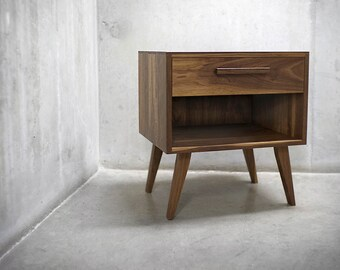Solid Black Walnut Nightstand/ End table with Tapered Legs, Upper Drawer and Bottom Cubby