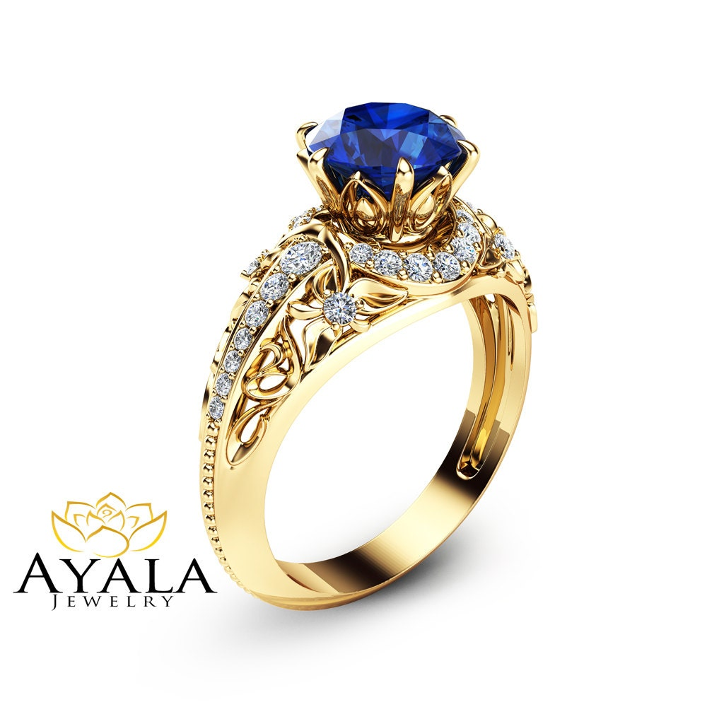 blue sapphire engagement ring 14k yellow gold ring natural. Black Bedroom Furniture Sets. Home Design Ideas