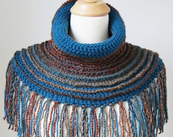 Boho Crochet Shawl, Bohemian Clothing, Teal Neck Warmer, Poncho with Fringe, Brown Wool Capelet, Unique Cowl Shoulder Warmer