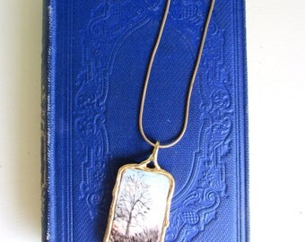 Abstract Tile Pendent Eldreth Designs Gold Plate Tree Necklace Serpentine Chain One of a Kind