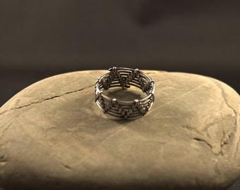 Woven Band Ring, woman man unisex ring, oxidized silver-filled, gift for her, gift for him