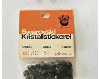 1950s vintage Swarovski Glass Rhinestones: jet black, each pack has 30 pcs, round, faceted -008/420  black-