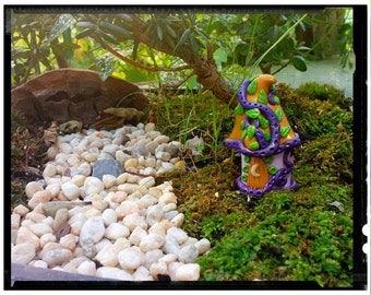 Fairy Garden House Spirit House with Glow-in-the-dark Window and Moon Custom Hand Made in Polymer Clay for Teacup Gardens Terrariums Figure