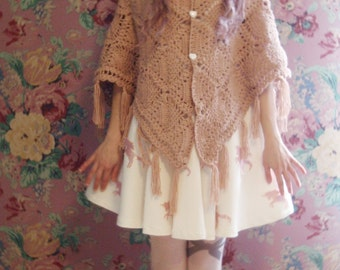 Mori Girl shawl , Dolly Kei , Cult Party Kei , Romantic , Lolita , Salmon Beige Blush Wool Crochet Shawl