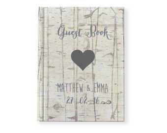 Wedding Guest book | Woodgrain Effect birch wood | Engagement Party Guest book keep sake | photo album | journal
