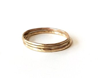 14K Gold Rings - One (1) SOLID Gold Band - Choose Thickness: 16, 18 or 20 gauge - Plain or Hammered Solid Gold Stacking Bands - Marked 14K