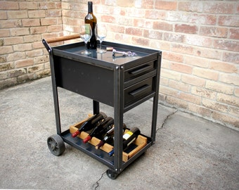 industrial beverage cart with drawers trolley serving station liquor wine storage metal casters - Wine Credenza