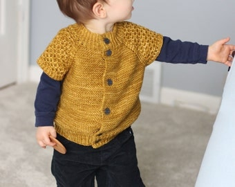Instant Download Knitting Pattern for a Toddler's Vest - My Honey Vest PDF Knitting Pattern