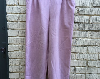 70s Pink Pinstripe Pants. 1970s Large High Waist Slacks. XL. Size 16. JCPenney