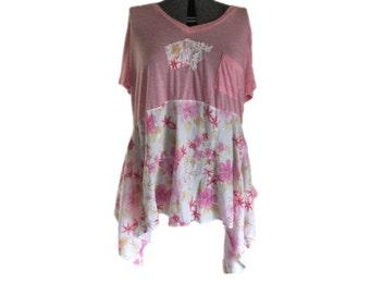 3Xl Plus Size Tunic Dress / Eco Friendly Embellished Upcycled Tunic Dress / Pink Upcycled Recycled Repurposed Boho Chic Dress By Tattered FX