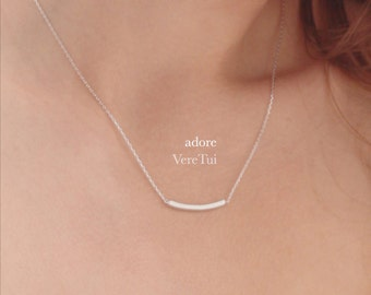 Thin Simple Brushed Silver Curved Slim Bar Necklace