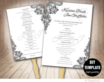 Grey Wedding Program FAN Template DIY Instant Download, Printable Wedding Silver Fan Program,Grey Wedding Fan Program,Grey Program Diy