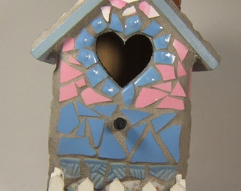 Pink and blue mosaic birdhouse