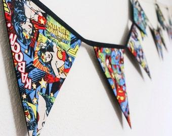 Wonder Woman bunting Super Girl Bat Woman decor,  superhero comic fabric flags,   Gift for geek,  retro girl power